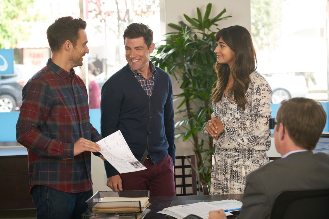 """NEW GIRL: L-R: Jake Johnson, Max Greenfield and Hannah Simone in the """"House Hunt"""" season premiere episode of NEW GIRL airing Tuesday, Sept. 20 (8:30-9:00 PM ET/PT) on FOX. ©2016 Fox Broadcasting Co. Cr: Ray Mickshaw/FOX"""