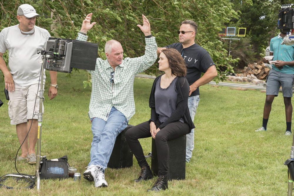 "THE BLACKLIST -- ""Esteban #79"" Episode 401 -- Pictured: (l-r) Producing Director Michael Watkins, Megan Boone as Elizabeth Keen -- (Photo by: Virginia Sherwood/NBC)"