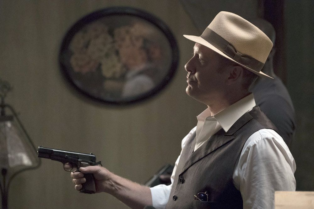 "THE BLACKLIST -- ""Esteban #79"" Episode 401 -- Pictured: (l-r) James Spader as Raymond ""Red"" Reddington, Hisham Tawfiq as Dembe Zuma -- (Photo by: Peter Kramer/NBC)"
