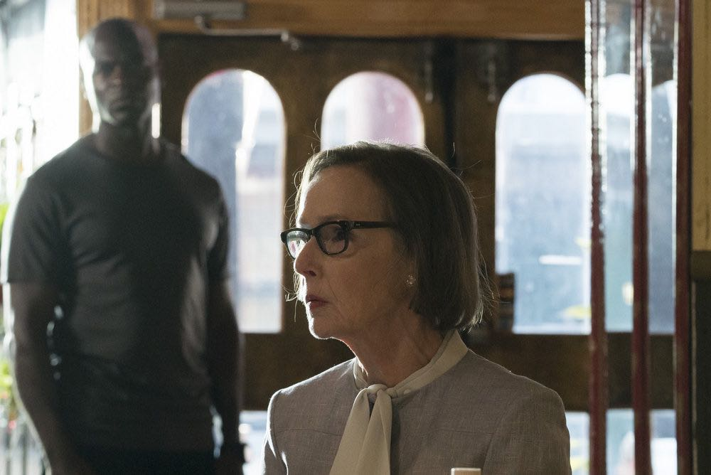"THE BLACKLIST -- ""Esteban #79"" Episode 401 -- Pictured: (l-r) Hisham Tawfiq as Dembe Zuma, Susan Blommaert as Mr. Kaplan -- (Photo by: Virginia Sherwood/NBC)"