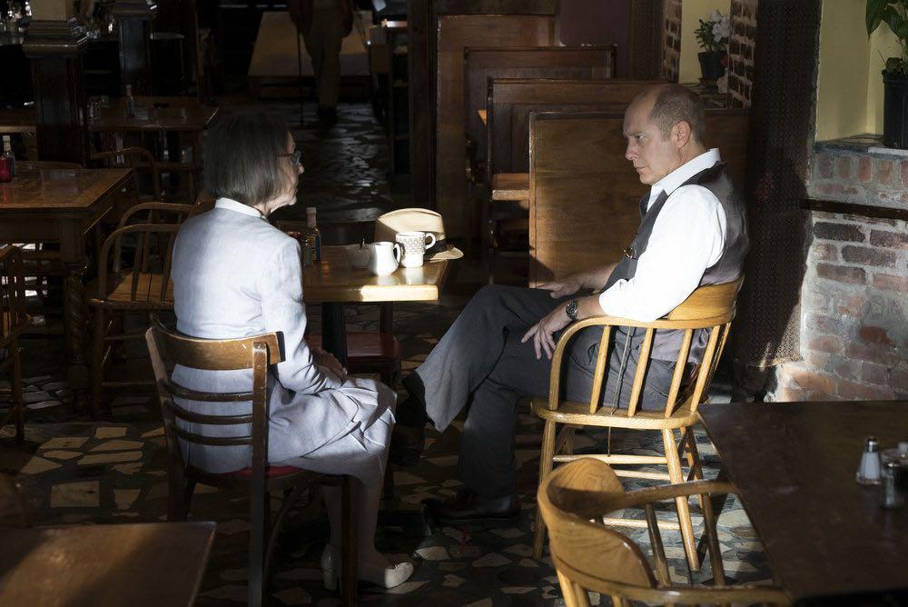 "THE BLACKLIST -- ""Esteban #79"" Episode 401 -- Pictured: (l-r) Susan Blommaert as Mr. Kaplan, James Spader as Raymond ""Red"" Reddington -- (Photo by: Virginia Sherwood/NBC)"