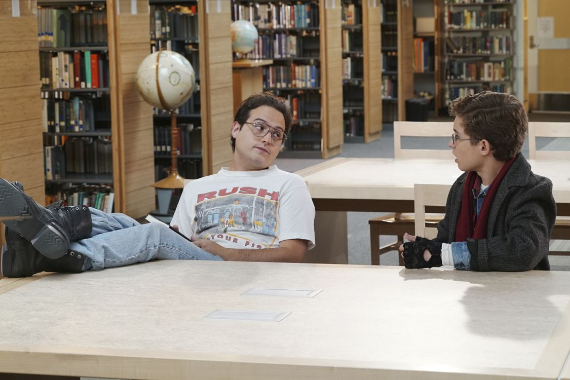 "THE GOLDBERGS - ""Breakfast Club"" - Adam works on his new persona for the first day of high school that he hopes will up his coolness level. Meanwhile, Beverly gets her teaching certification to become a substitute teacher. But when she is demoted to sub-janitor, she sends the Goldberg kids to a Saturday detention, but it is Principal Ball who must oversee the kids. Later, Murray arrives and takes over where he gives an important lesson, on the season premiere ""The Goldbergs,"" WEDNESDAY, SEPTEMBER 21 (8:00-8:30 p.m. EDT), on the ABC Television Network. (ABC/Ron Tom) SEAN MARQUETTE, SEAN GIAMBRONE"