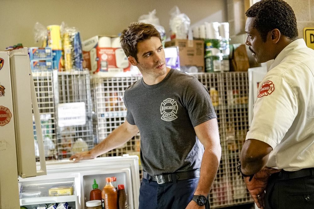 """CHICAGO FIRE -- """"The Hose or The Animal"""" Episode 501 -- Pictured: (l-r) Steve McQueen as Jimmy Borrelli, Eamonn Walker as Chief Wallace Boden -- (Photo by: Matt Dinerstein/NBC)"""