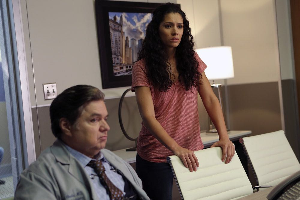 """CHICAGO FIRE -- """"The Hose or The Animal"""" Episode 501 -- Pictured: (l-r) Oliver Platt as Dr. Daniel Charles, Miranda Rae Mayo as Stella Kid -- (Photo by: Parrish Lewis/NBC)"""