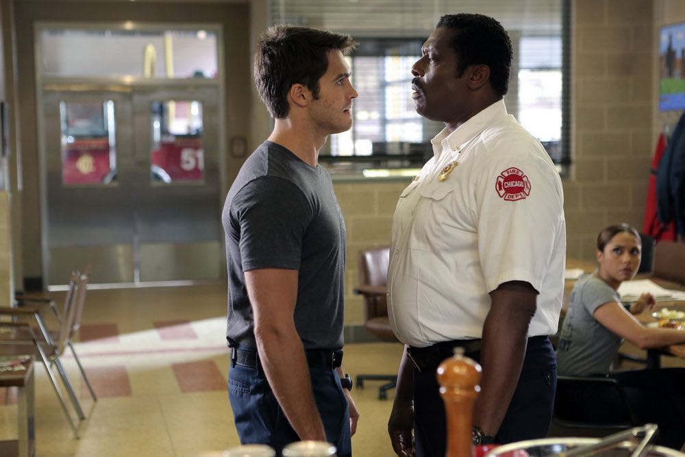 """CHICAGO FIRE -- """"The Hose or The Animal"""" Episode 501 -- Pictured: (l-r) Steve McQueen as Jimmy Borelli, Eamonn Walker as Chief Wallace Boden -- (Photo by: Parrish Lewis/NBC)"""