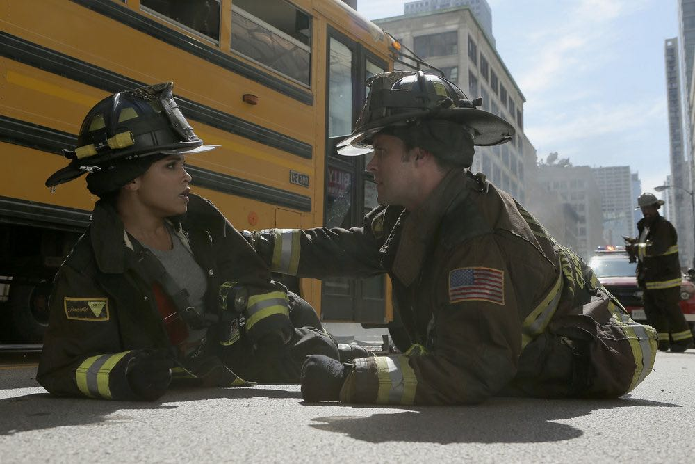 """CHICAGO FIRE -- """"The Hose or The Animal"""" Episode 501 -- Pictured: (l-r) Monica Raymund as Gabriela Dawson, Jesse Spencer as Matthew Casey -- (Photo by: Parrish Lewis/NBC)"""