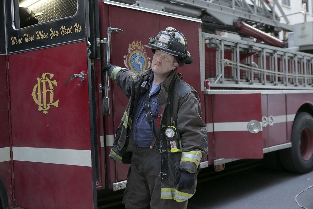 """CHICAGO FIRE -- """"The Hose or The Animal"""" Episode 501 -- Pictured: Christian Stolte as Mouch -- (Photo by: Parrish Lewis/NBC)"""