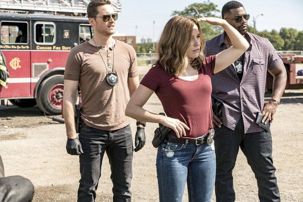 "CHICAGO P.D. -- ""The Silos"" Episode 401 -- Pictured: (l-r) Patrick John Flueger as Adam Ruzek, Sophia Bush as Erin Lindsay, LaRoyce Hawkins as Kevin Atwater -- (Photo by: Matt Dinerstein/NBC)"
