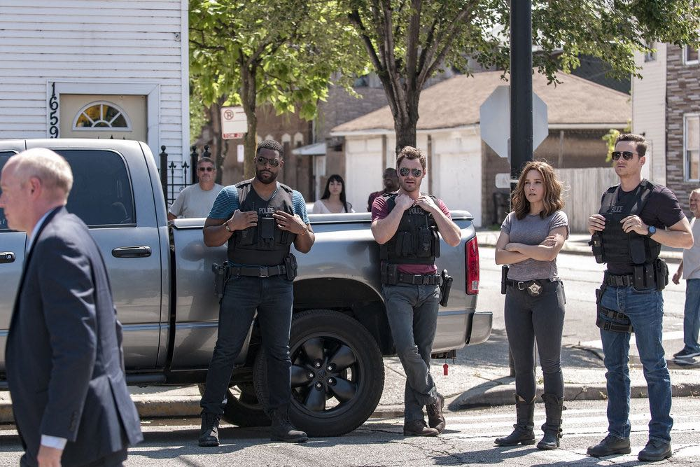 "CHICAGO P.D. -- ""The Silos"" Episode 401 -- Pictured: (l-r) LaRoyce Hawkins as Kevin Atwater, Patrick John Flueger as Adam Ruzek, Sophia Bush as Erin Lindsay, Jesse Lee Soffer as Jay Halstead -- (Photo by: Matt Dinerstein/NBC)"