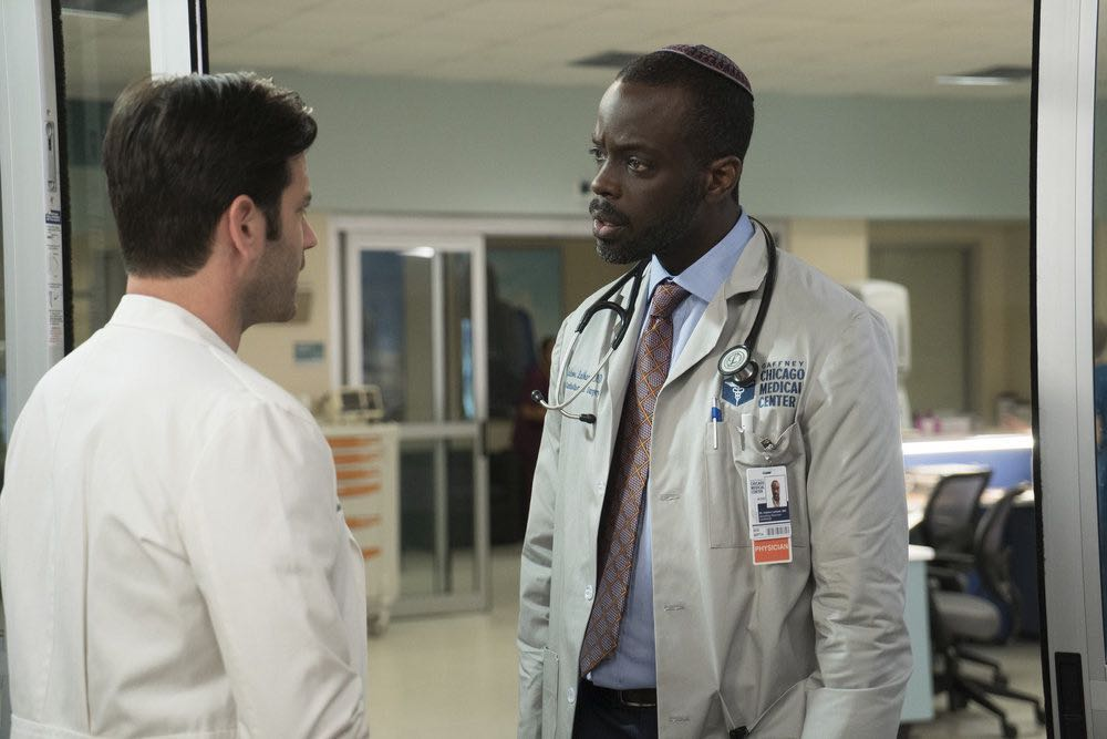 """CHICAGO MED -- """"Soul Care"""" Episode 201 -- Pictured: (l-r) Colin Donnell as Connor Rhodes, Ato Essandoh as Isidore Latham -- (Photo by: Elizabeth Sisson/NBC)"""