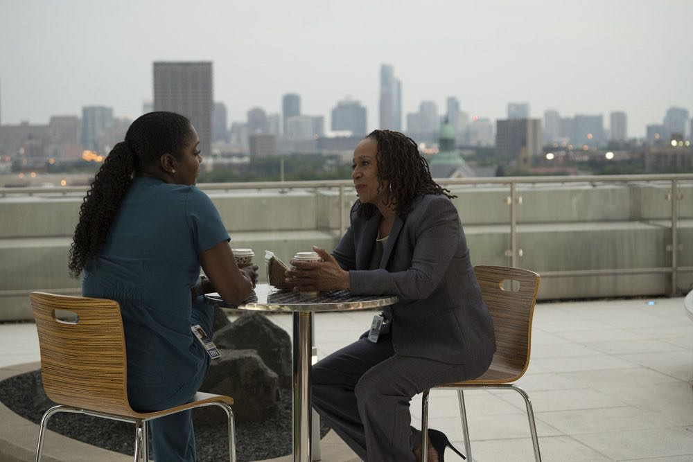 """CHICAGO MED -- """"Soul Care"""" Episode 201 -- Pictured: (l-r) Marlyne Barrett as Maggie Lockwood, S. Epatha Merkerson as Sharon Goodwin -- (Photo by: Elizabeth Sisson/NBC)"""