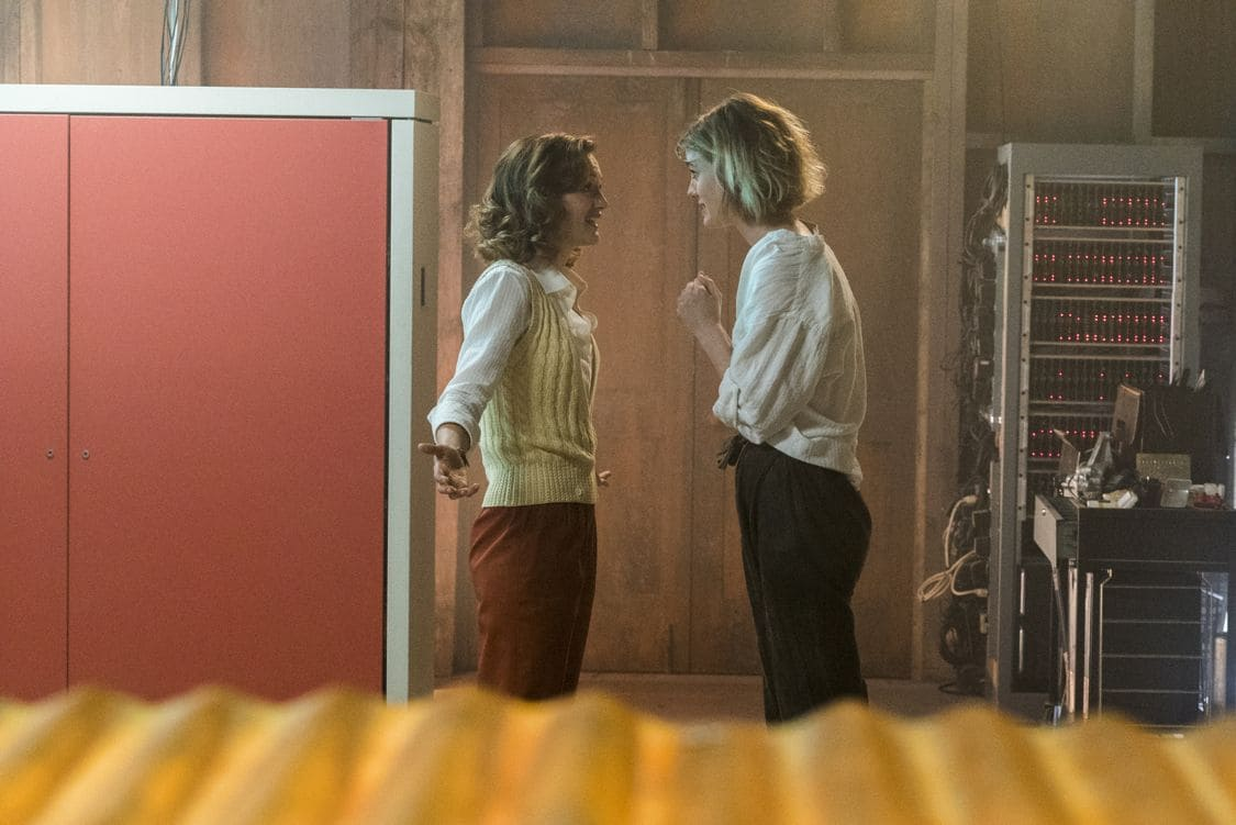 Kerry Bishe as Donna Clark, Mackenzie Davis as Cameron Howe - Halt and Catch Fire _ Season 3, Episode 5 - Photo Credit: Tina Rowden/AMC