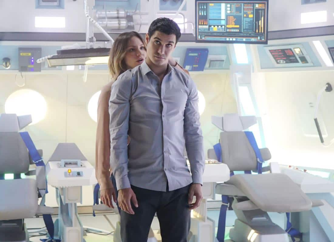 """""""It Isn't the Fall That Kills You"""" – When Walter is accidentally launched into space in a rocket, he hallucinates about Paige as his oxygen runs low, and Team Scorpion works feverishly to find a way to bring him home before he suffocates, on SCORPION, Monday, Oct. 10 (10:00-11:00, ET/PT), on the CBS Television Network. Pictured: Katharine McPhee as Paige Dineen, Elyes Gabel as Walter O'Brien."""