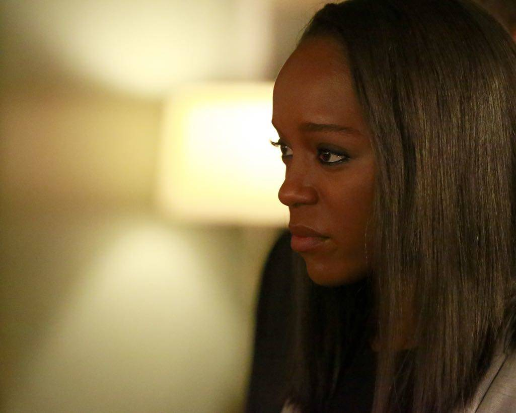"HOW TO GET AWAY WITH MURDER - ""Call It Mother's Intuition"" - Annalise and her students take on a case defending siblings who have been charged with conspiracy to commit murder against their mother. Meanwhile, Frank's actions lead to a painful consequence, on ""How to Get Away with Murder,"" THURSDAY, NOVEMBER 3 (10:00-11:00 p.m. EDT), on the ABC Television Network. (ABC/Mitch Haaseth) AJA NAOMI KING"