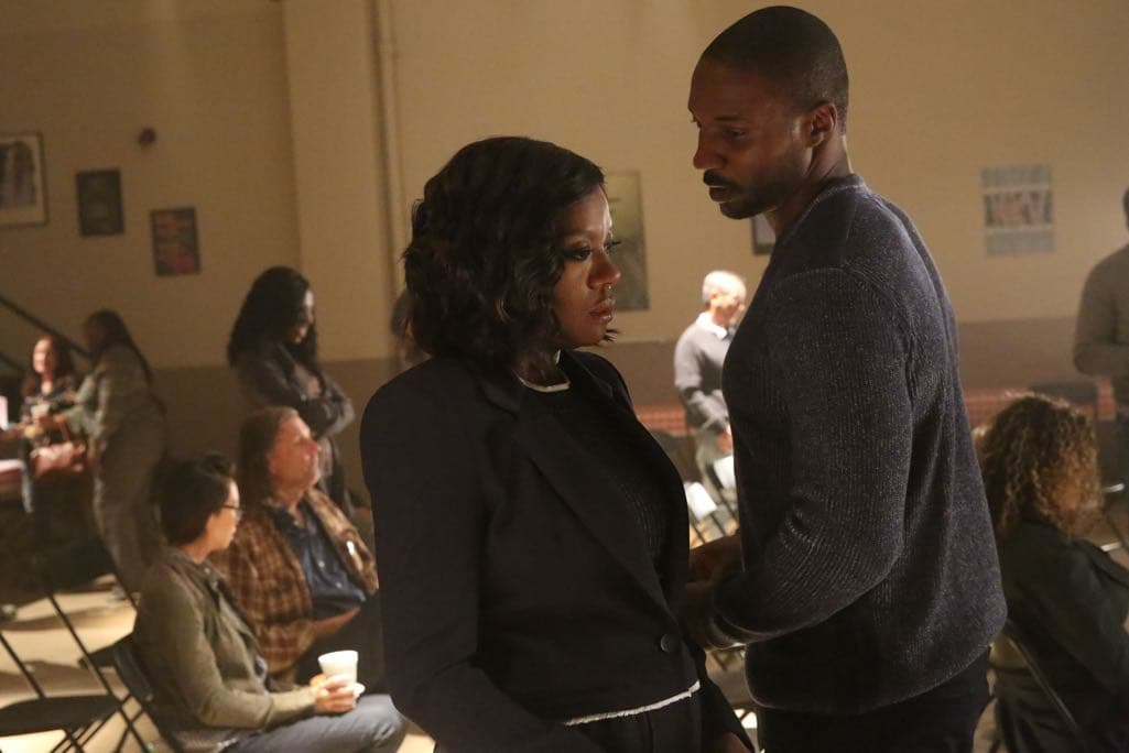 "HOW TO GET AWAY WITH MURDER - ""Call It Mother's Intuition"" - Annalise and her students take on a case defending siblings who have been charged with conspiracy to commit murder against their mother. Meanwhile, Frank's actions lead to a painful consequence, on ""How to Get Away with Murder,"" THURSDAY, NOVEMBER 3 (10:00-11:00 p.m. EDT), on the ABC Television Network. (ABC/Mitch Haaseth) VIOLA DAVIS, EME IKWUAKOR"