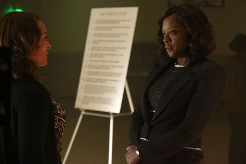 "HOW TO GET AWAY WITH MURDER - ""Call It Mother's Intuition"" - Annalise and her students take on a case defending siblings who have been charged with conspiracy to commit murder against their mother. Meanwhile, Frank's actions lead to a painful consequence, on ""How to Get Away with Murder,"" THURSDAY, NOVEMBER 3 (10:00-11:00 p.m. EDT), on the ABC Television Network. (ABC/Mitch Haaseth) LAUREN LUNA VELEZ, VIOLA DAVIS"