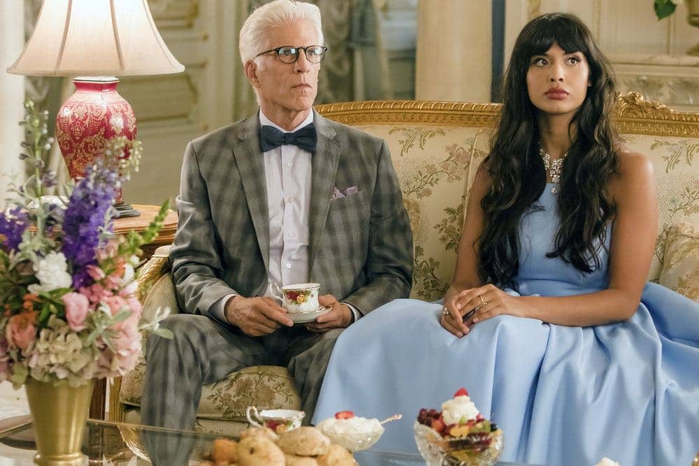 "THE GOOD PLACE -- ""...Someone Like Me as a Member"" -- Pictured: (l-r) Ted Danson as Michael, Jameela Jamil as Tehani -- (Photo by: Ron Batzdorff/NBC)"