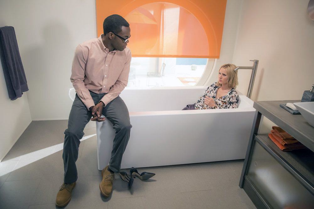 "THE GOOD PLACE -- ""...Someone Like Me as a Member"" -- Pictured: (l-r) William Jackson Harper as Chidi, Kristen Bell as Eleanor -- (Photo by: Ron Batzdorff/NBC)"