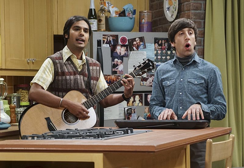 """The Veracity Elasticity"""" -- Pictured: Rajesh Koothrappali (Kunal Nayyar) and Howard Wolowitz (Simon Helberg). In order to continue living with Sheldon, Amy lies to him about repairs being made to her apartment and they host an """"on location"""" episode of """"Fun With Flags"""" in Penny's apartment. Also, Leonard lets Penny decorate Sheldon's old room after he learns that she has been secretly moving Leonard's collectibles into storage, on THE BIG BANG THEORY, Thursday, Nov. 3 (8:00-8:31 PM, ET/PT), on the CBS Television Network. Photo: Monty Brinton/CBS ©2016 CBS Broadcasting, Inc. All Rights Reserved."""