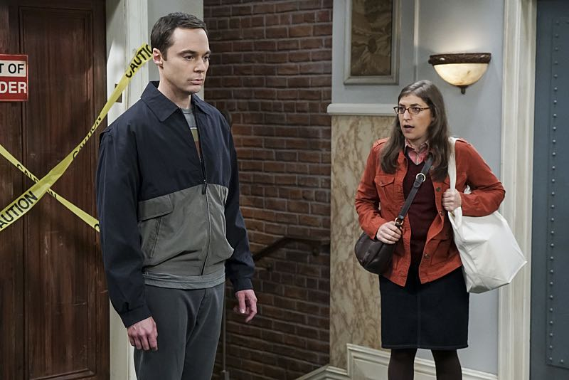 """The Veracity Elasticity"""" -- Pictured: Sheldon Cooper (Jim Parsons) and Amy Farrah Fowler (Mayim Bialik). In order to continue living with Sheldon, Amy lies to him about repairs being made to her apartment and they host an """"on location"""" episode of """"Fun With Flags"""" in Penny's apartment. Also, Leonard lets Penny decorate Sheldon's old room after he learns that she has been secretly moving Leonard's collectibles into storage, on THE BIG BANG THEORY, Thursday, Nov. 3 (8:00-8:31 PM, ET/PT), on the CBS Television Network. Photo: Monty Brinton/CBS ©2016 CBS Broadcasting, Inc. All Rights Reserved."""