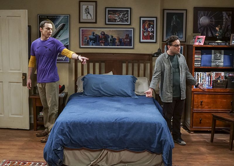 """The Veracity Elasticity"""" -- Pictured: Sheldon Cooper (Jim Parsons) and Leonard Hofstadter (Johnny Galecki). In order to continue living with Sheldon, Amy lies to him about repairs being made to her apartment and they host an """"on location"""" episode of """"Fun With Flags"""" in Penny's apartment. Also, Leonard lets Penny decorate Sheldon's old room after he learns that she has been secretly moving Leonard's collectibles into storage, on THE BIG BANG THEORY, Thursday, Nov. 3 (8:00-8:31 PM, ET/PT), on the CBS Television Network. Photo: Monty Brinton/CBS ©2016 CBS Broadcasting, Inc. All Rights Reserved."""
