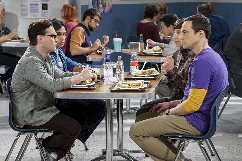 """The Veracity Elasticity"""" -- Pictured: Leonard Hofstadter (Johnny Galecki), Rajesh Koothrappali (Kunal Nayyar), Howard Wolowitz (Simon Helberg) and Sheldon Cooper (Jim Parsons). In order to continue living with Sheldon, Amy lies to him about repairs being made to her apartment and they host an """"on location"""" episode of """"Fun With Flags"""" in Penny's apartment. Also, Leonard lets Penny decorate Sheldon's old room after he learns that she has been secretly moving Leonard's collectibles into storage, on THE BIG BANG THEORY, Thursday, Nov. 3 (8:00-8:31 PM, ET/PT), on the CBS Television Network. Photo: Monty Brinton/CBS ©2016 CBS Broadcasting, Inc. All Rights Reserved."""