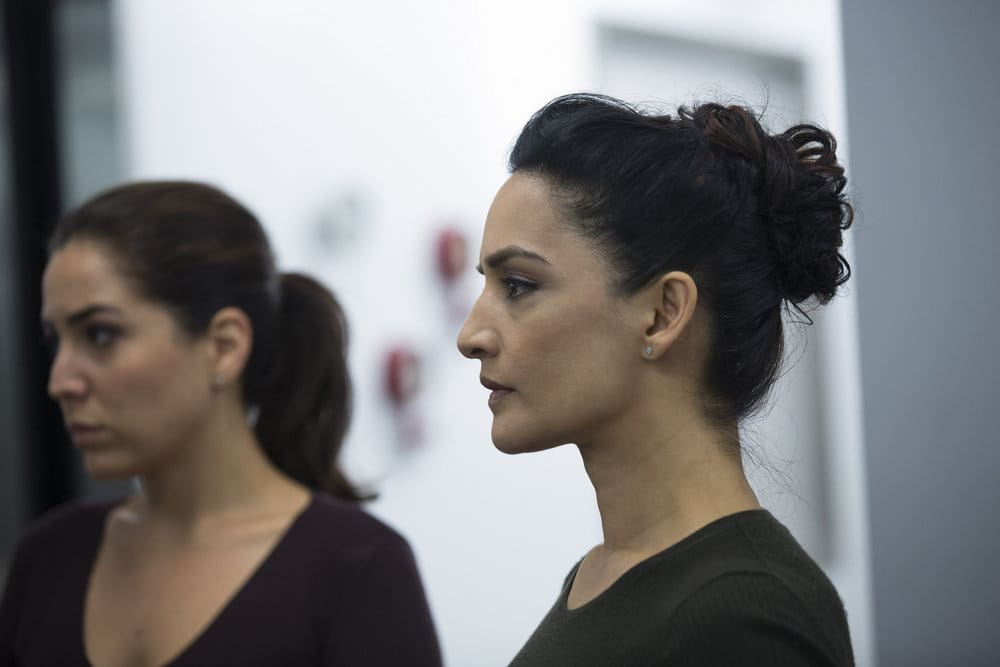 """BLINDSPOT -- """"Do Not Slack, the Featherweight Wins"""" Episode 208 -- Pictured: (l-r) Audrey Esparza as Tasha Zapata, Archie Panjabi as Nas Kamal -- (Photo by: Eric Liebowitz/Warner Bros/NBC)"""