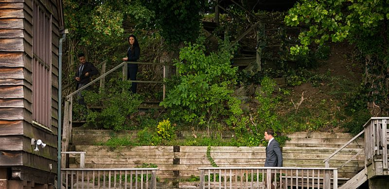 """Henny Penny the Sky is Falling"" -- Captain Gregson lobbies to include Holmes and Watson when his unit is selected to receive a city commendation for its exemplary work. Also, as Holmes and Watson consult on the investigation into a financial analyst's murder, they are drawn into the world of asteroid research, on the 100th episode of ELEMENTARY, Sunday, Oct. 30 (10:00-11:00 PM, ET/PT) on the CBS Television Network. Pictured (L-R) Jon Michael Hill as Detective Marcus Bell, Lucy Liu as Joan Watson and Jonny Lee Miller as Sherlock Holmes Photo: Michael Parmelee/CBS ©2016 CBS Broadcasting, Inc. All Rights Reserved"