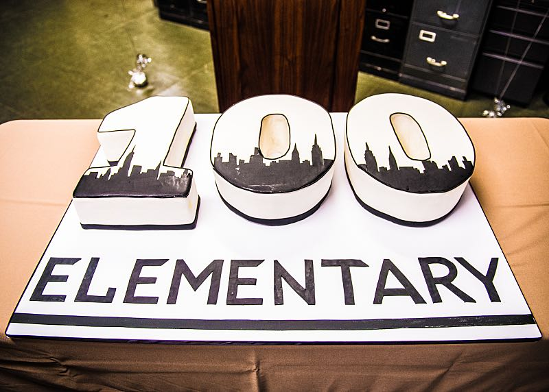 """Henny Penny The Sky Is Falling"" -- The cast of ELEMENTARY celebrates their milestone 100th episode with a cake-cutting ceremony Photo: Michele Crowe /CBS ©2016 CBS Broadcasting Inc. All Rights Reserved."