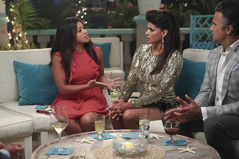 "Jane The Virgin -- ""Chapter Forty-Seven"" -- Image Number: JAV303b_0411.jpg -- Pictured (L-R): Gina Rodriguez as Jane, Andrea Navedo as Xo and Jaime Camil as Rogelio -- Photo: Patrick Wymore/The CW -- © 2016 The CW Network, LLC. All Rights Reserved."
