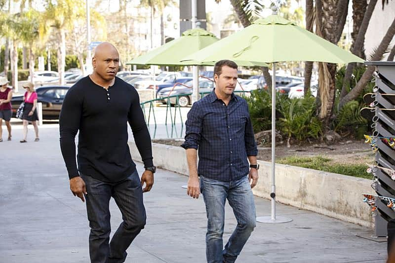 """Crazy Train"" -- Pictured: LL COOL J (Special Agent Sam Hanna) and Chris O'Donnell (Special Agent G. Callen). Callen goes undercover as a patient in a mental health hospital to search for an NSA agent who disappeared while tracking an ISIS cell trying to cross the Mexican border, on NCIS: LOS ANGELES, Sunday, Nov. 6 (8:30-9:30 PM, ET/8:00-9:00 PM,PT), on the CBS Television Network. Photo: Robert Voets/CBS ©2016 CBS Broadcasting, Inc. All Rights Reserved"