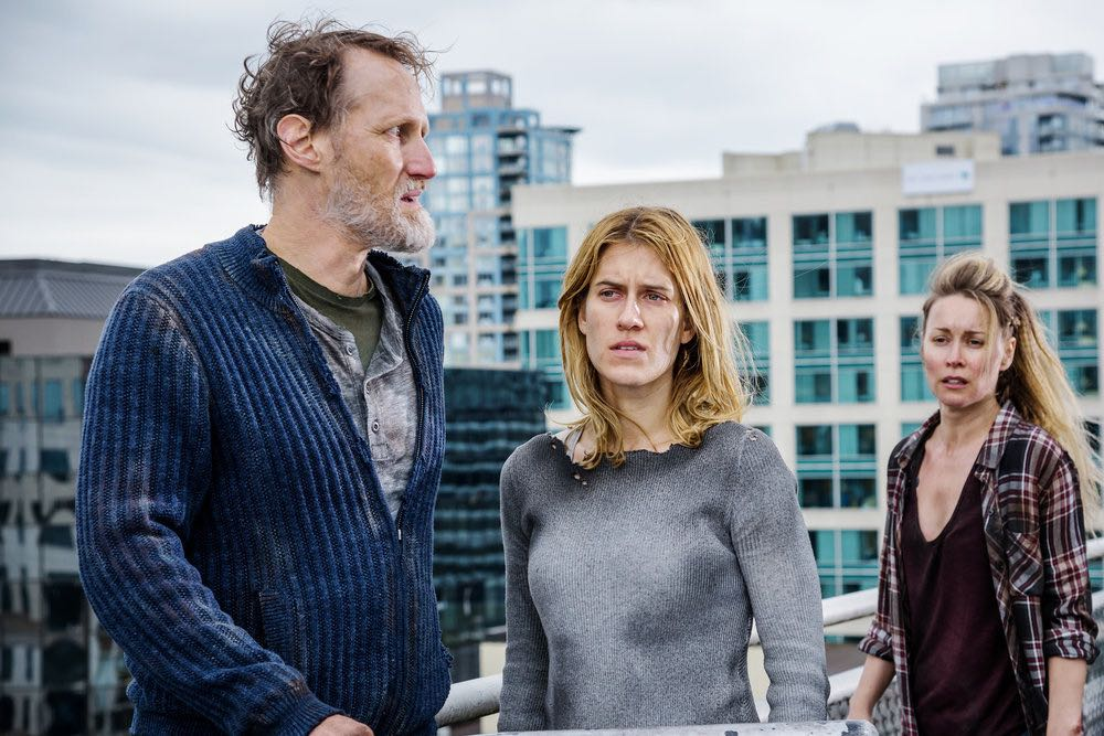 "VAN HELSING -- ""For Me"" Episode 107 -- Pictured: (l-r) Christopher Heyerdahl as Sam, Alison Wazendura as Nicole, Hilary Jardine as Susan -- (Photo by: Dan Power/Helsing S1 Productions/Syfy)"