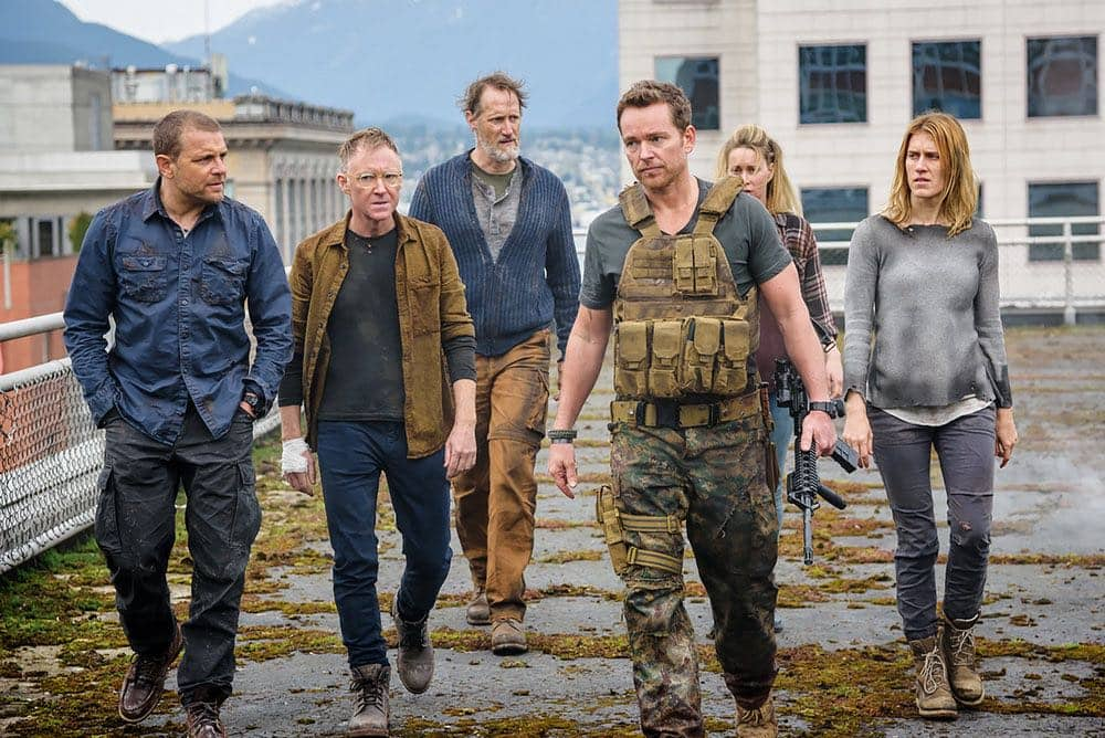 "VAN HELSING -- ""For Me"" Episode 107 -- Pictured: (l-r) David Cubitt as John, Vincent Gale as Flesh, Christopher Heyerdahl as Sam, Jonathan Scarfe as Axel Miller, Hilary Jardine as Susan, Alison Wazendura as Nicole -- (Photo by: Dan Power/Helsing S1 Productions/Syfy)"