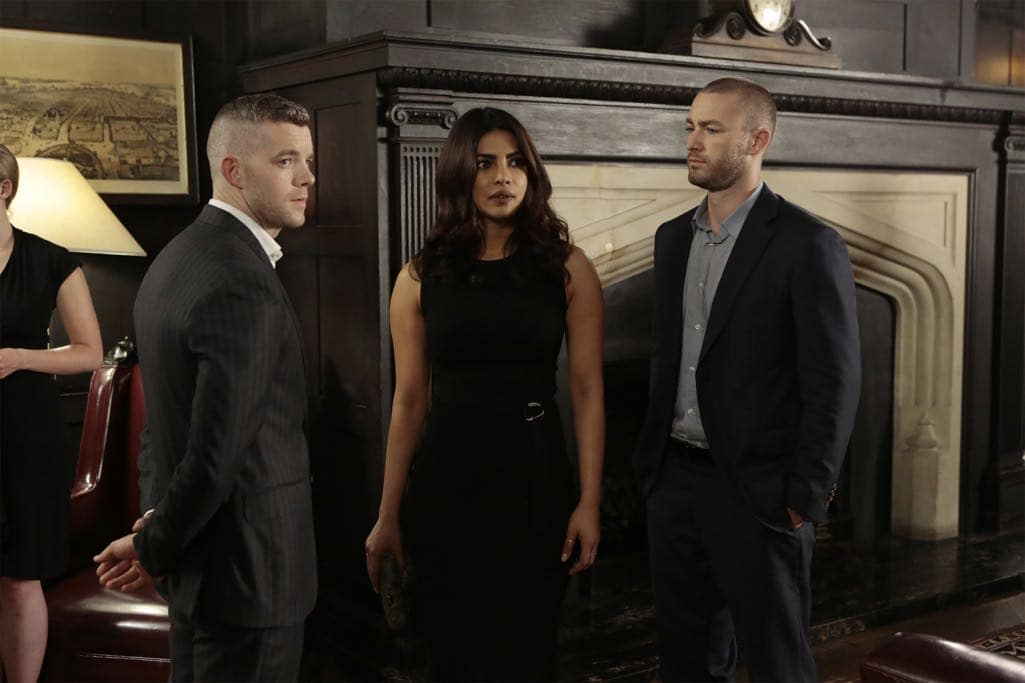 "QUANTICO - ""KMFORGET"" - At the Farm, Harry is still suspicious of Alex and Ryan, and he's determined to learn more about their plan, while Leon is recruited for a special assignment by Owen. Meanwhile, in the future, Alex continues to run from the terrorists but faces her toughest challenge yet when the terrorists corner her on ""Quantico,"" airing SUNDAY, OCTOBER 30 (10:00-11:00 p.m. EDT), on the ABC Television Network. (ABC/Giovanni Rufino) RUSSELL TOVEY, PRIYANKA CHOPRA, JAKE MCLAUGHLIN"