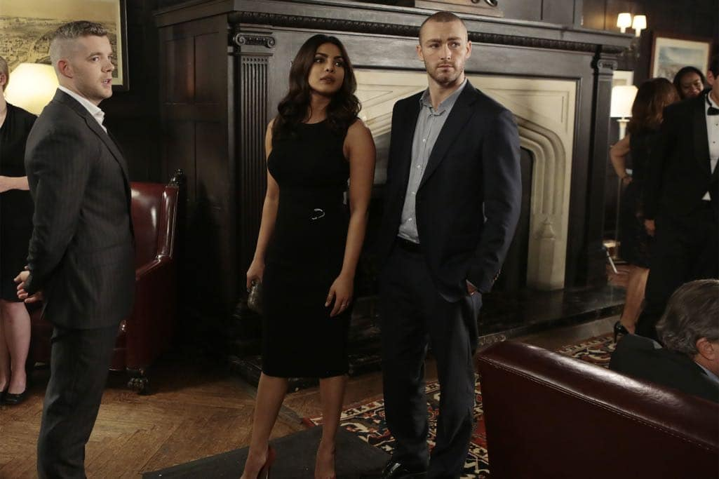 """QUANTICO - """"KMFORGET"""" - At the Farm, Harry is still suspicious of Alex and Ryan, and he's determined to learn more about their plan, while Leon is recruited for a special assignment by Owen. Meanwhile, in the future, Alex continues to run from the terrorists but faces her toughest challenge yet when the terrorists corner her on """"Quantico,"""" airing SUNDAY, OCTOBER 30 (10:00-11:00 p.m. EDT), on the ABC Television Network. (ABC/Giovanni Rufino) RUSSELL TOVEY, PRIYANKA CHOPRA, JAKE MCLAUGHLIN"""