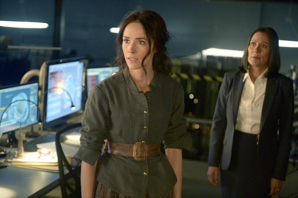 "TIMELESS -- ""The Alamo"" Episode 104 -- Pictured: (l-r) Abigail Spencer as Lucy Preston, Sakina Jaffrey as Denise Christopher -- (Photo by: Sergei Bachlakov/NBC)"