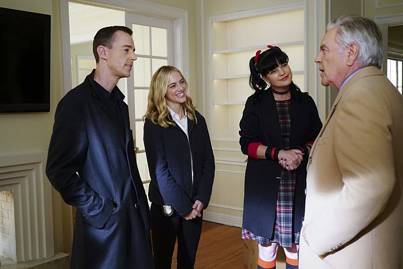 """Home of the Brave"" -- Torres boldly breaks protocol when he learns a witness in an NCIS case is wanted by U.S. Immigration and Customs Enforcement. Also, Abby, Bishop and McGee woo landlord Tony DiNozzo Sr. (Robert Wagner) in the hope of subletting Tony's apartment, on NCIS, Tuesday, Nov. 1 (8:00-9:00 PM, ET/PT), on the CBS Television Network. Pictured: Sean Murray, Emily Wickersham, Pauley Perrette, Robert Wagner. Photo: Sonja Flemming/CBS ©2016 CBS Broadcasting, Inc. All Rights Reserved"