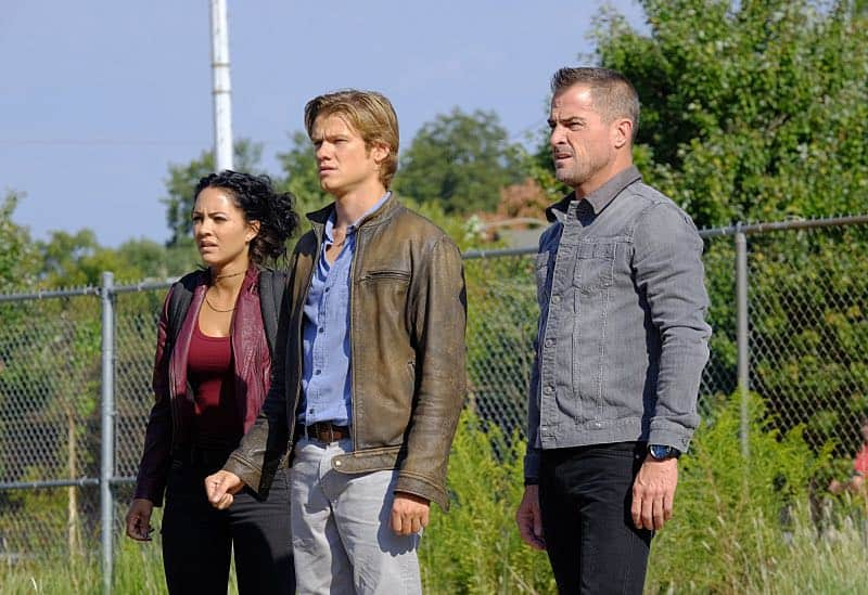 """Wrench"" -- Using only a wrench and rope, MacGyver must diffuse a bomb set near the United Nations by his old nemesis, ""The Ghost"" (Niko Nicotera), a notorious criminal whose work killed his mentor, and track him down before he strikes again, on MACGYVER, Friday, Oct. 28 (8:00-9:00 PM, ET/PT) on the CBS Television Network. Pictured: Tristin Mays, Lucas Till, George Eads. Photo: Guy D'Alema/CBS ©2016 CBS Broadcasting, Inc. All Rights Reserved"