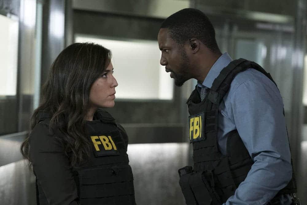 "BLINDSPOT -- ""Resolves Eleven Myths"" Episode 207 -- Pictured: (l-r) Audrey Esparza as Tasha Zapata, Rob Brown as Edgar Reade -- (Photo by: Virginia Sherwood/NBC)"
