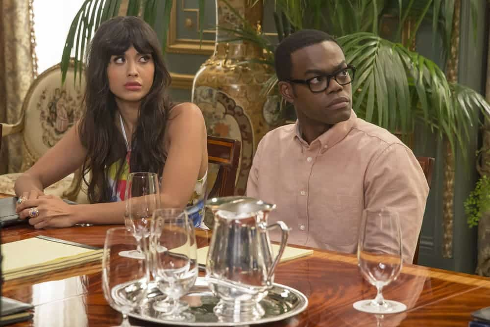"THE GOOD PLACE -- ""Most Improved Player"" Episode 107 -- Pictured: (l-r) Jameela Jamil as Tehani, William Jackson Harper as Chidi -- (Photo by: Ron Batzdorff/NBC)"