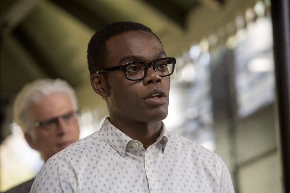 "THE GOOD PLACE -- ""Most Improved Player"" Episode 107 -- Pictured: (l-r) Ted Danson as Michael, William Jackson Harper as Chidi -- (Photo by: Ron Batzdorff/NBC)"