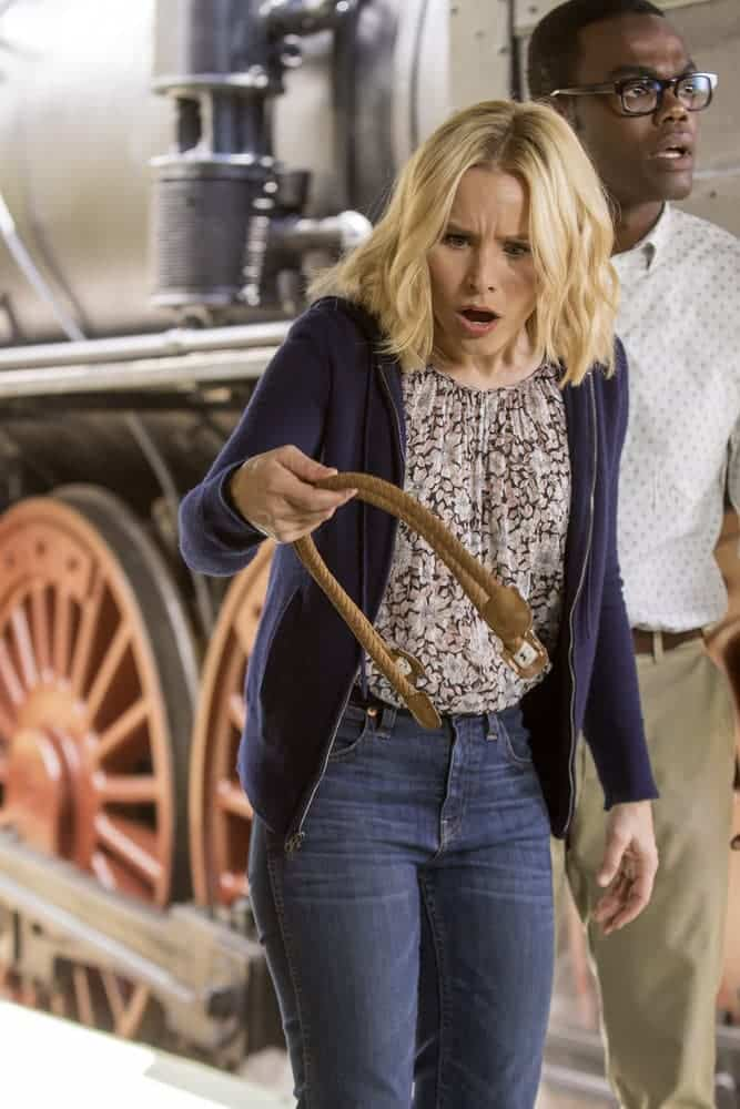 "THE GOOD PLACE -- ""Most Improved Player"" Episode 107 -- Pictured: (l-r) Kristen Bell as Eleanor, William Jackson Harper as Chidi -- (Photo by: Ron Batzdorff/NBC)"