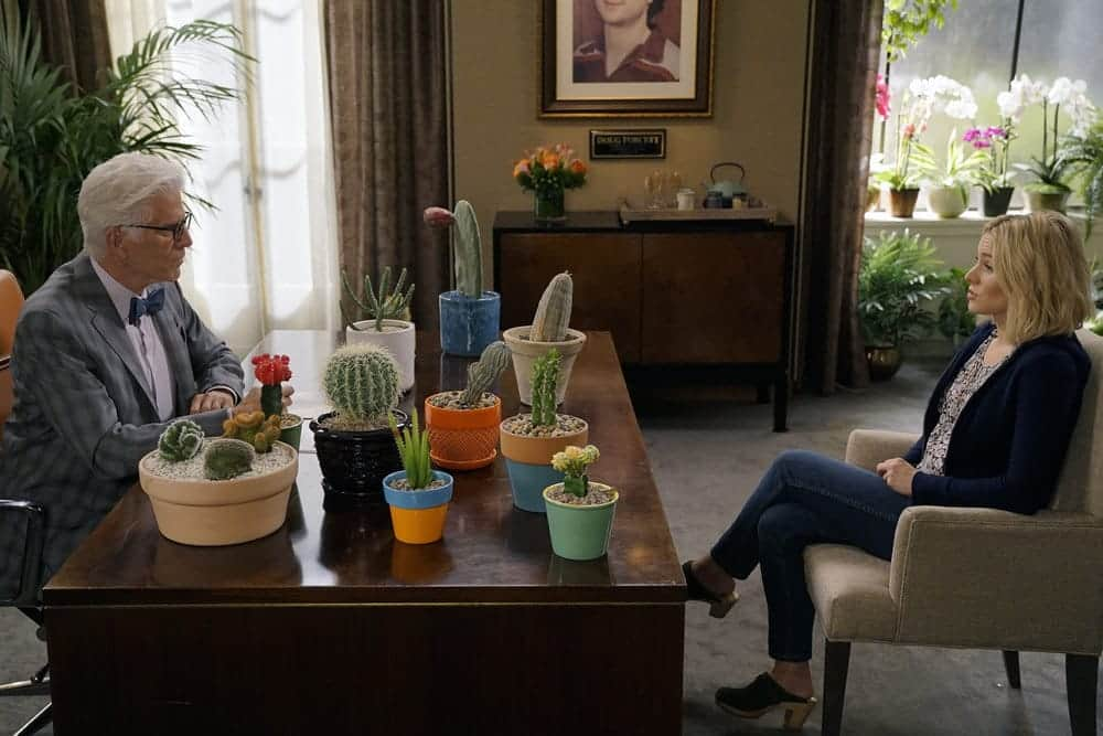 "THE GOOD PLACE -- ""Most Improved Player"" Episode 107 -- Pictured: (l-r) Ted Danson as Michael, Kristen Bell as Eleanor -- (Photo by: Chris Haston/NBC)"