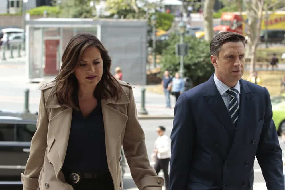 """LAW & ORDER: SPECIAL VICTIMS UNIT -- """"Rape Interrupted"""" Episode 1806 -- Pictured: (l-r) Mariska Hargitay as Olivia Benson, Joseph Lyle Taylor as Attorney Mickey D'Angelo -- (Photo by: Michael Parmelee/NBC)"""