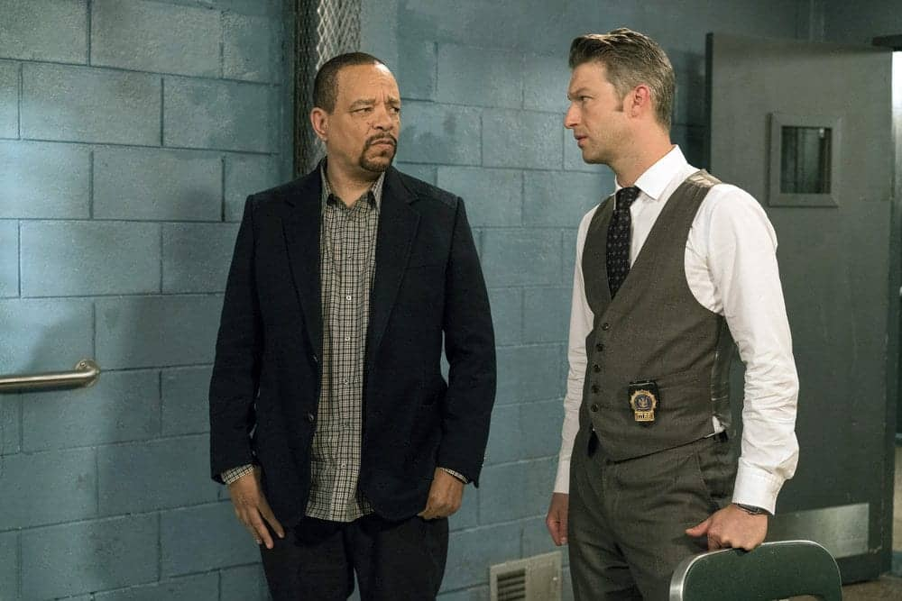 """LAW & ORDER: SPECIAL VICTIMS UNIT-- """"Rape Interrupted"""" Episode 1806 -- Pictured: (l-r) Ice-T as Odafin Tutuola, Peter Scanavino as Dominick Carisi Jr. -- (Photo by: David Giesbrecht/NBC)"""