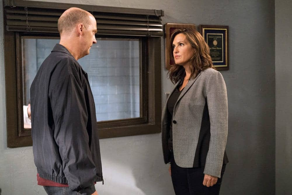 """LAW & ORDER: SPECIAL VICTIMS UNIT-- """"Rape Interrupted"""" Episode 1806 -- Pictured: (l-r) Anthony Edwards as Sgt. John Griffin, Mariska Hargitay as Olivia Benson -- (Photo by: David Giesbrecht/NBC)"""