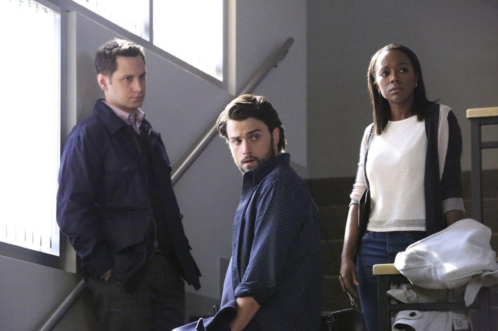 "HOW TO GET AWAY WITH MURDER - ""Is Someone Really Dead?"" - A revelation in the Wallace Mahoney murder rattles Annalise and the Keating 5, as the team takes on the case of a veteran facing assault charges, on ""How to Get Away with Murder,"" THURSDAY, OCTOBER 27 (10:00-11:00 p.m. EDT), on the ABC Television Network. (ABC/Mitch Haaseth) MATT MCGORRY, JACK FALAHEE, AJA NAOMI KING"