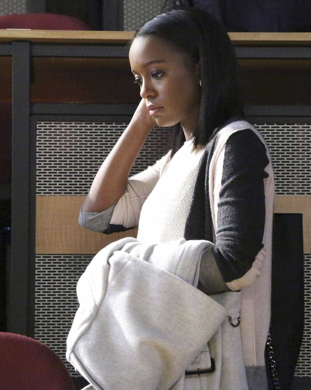 """HOW TO GET AWAY WITH MURDER - """"Is Someone Really Dead?"""" - A revelation in the Wallace Mahoney murder rattles Annalise and the Keating 5, as the team takes on the case of a veteran facing assault charges, on """"How to Get Away with Murder,"""" THURSDAY, OCTOBER 27 (10:00-11:00 p.m. EDT), on the ABC Television Network. (ABC/Mitch Haaseth) AJA NAOMI KING"""