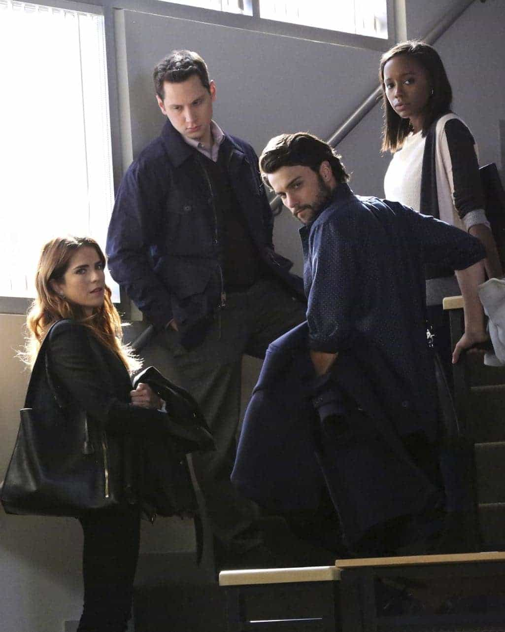 """HOW TO GET AWAY WITH MURDER - """"Is Someone Really Dead?"""" - A revelation in the Wallace Mahoney murder rattles Annalise and the Keating 5, as the team takes on the case of a veteran facing assault charges, on """"How to Get Away with Murder,"""" THURSDAY, OCTOBER 27 (10:00-11:00 p.m. EDT), on the ABC Television Network. (ABC/Mitch Haaseth) KARLA SOUZA, MATT MCGORRY, JACK FALAHEE, AJA NAOMI KING"""