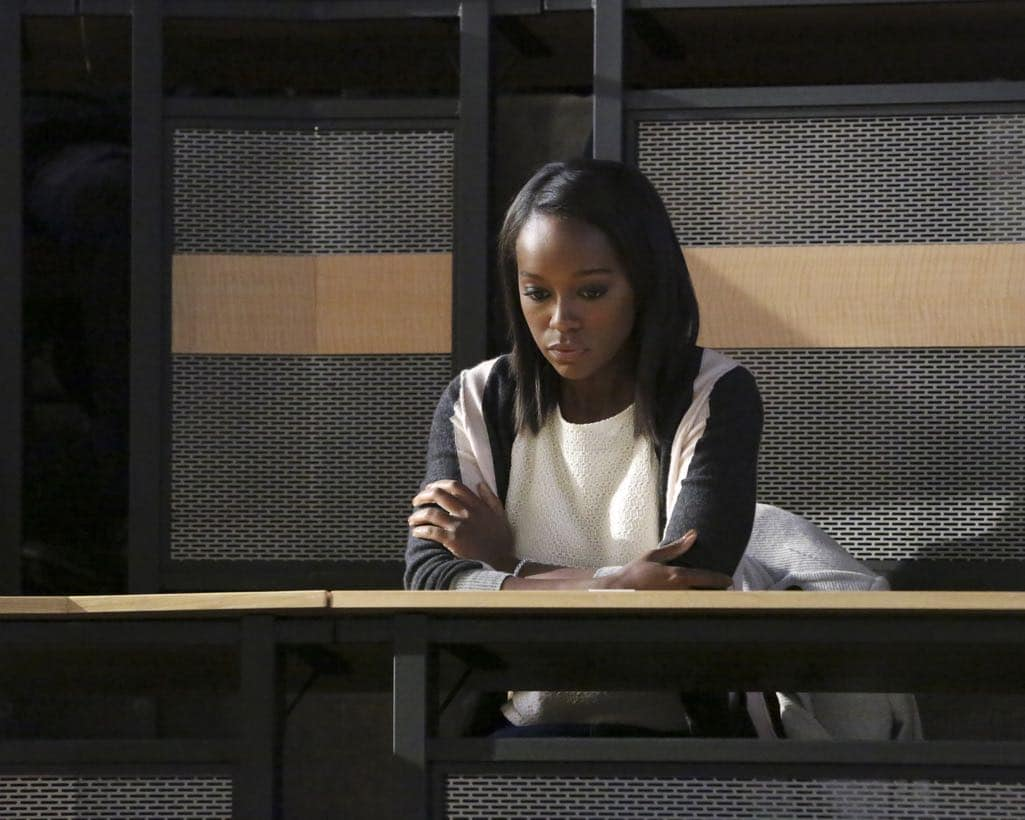 "HOW TO GET AWAY WITH MURDER - ""Is Someone Really Dead?"" - A revelation in the Wallace Mahoney murder rattles Annalise and the Keating 5, as the team takes on the case of a veteran facing assault charges, on ""How to Get Away with Murder,"" THURSDAY, OCTOBER 27 (10:00-11:00 p.m. EDT), on the ABC Television Network. (ABC/Mitch Haaseth) AJA NAOMI KING"